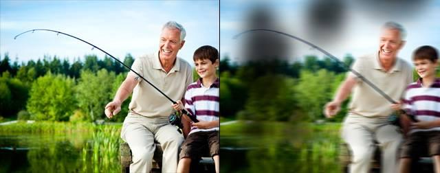 ภาพซ้ายคือมุมมองปกติ ภาพขวาคือมุมของจอประสาทตาเสื่อม